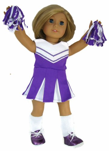 Complete Purple Cheerleader Outfit For 18 Inch American Girl Doll