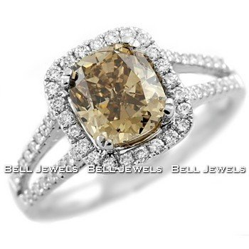 Stunning 2.55ct Cushion Cut Champagne Diamond