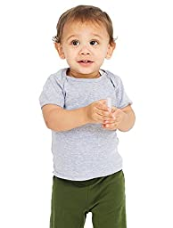 American Apparel Kids Infant Baby Rib Short Sleeve Lap T Size 12-18M Heather
