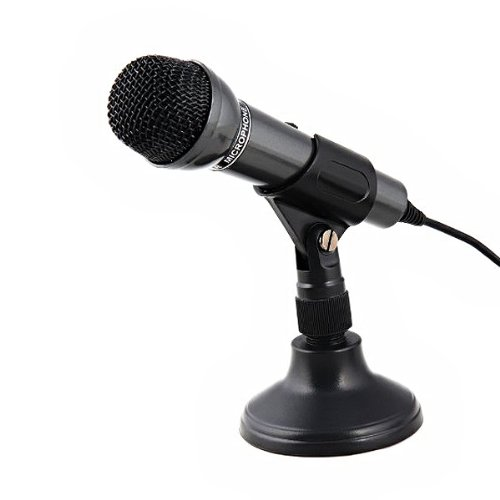 Foxnovo Senic SM 098 3.5mm plug Wired Handheld Multimedia Microphone with Stand Color Black