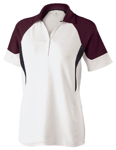 Women'S Engineered-Fit Demand Tri Polo Shirt, White/Maroon/Black, X-Large