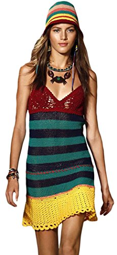 YFFaye Women's Sexy V Neck Striped Bodice Crochet Beach Dress Onesize