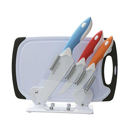 Set coltelli con tagliere e ceppo, 3 pezzi