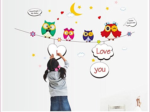 Home Wall Decor Decals Poster House Wall Stickers Quotes Removable Vinyl Large Wall Sticker For Kids Rooms Height Stickers Owls W-531 front-843045