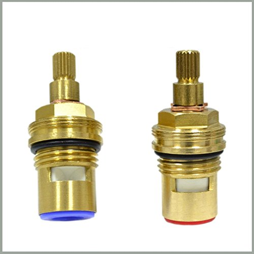 Replacement Ceramic Disc Tap Valve Cartridge Quarter Turn 1/2 20 teeth x 53mm + SOLID BRASS SCREWS by Tap Magician