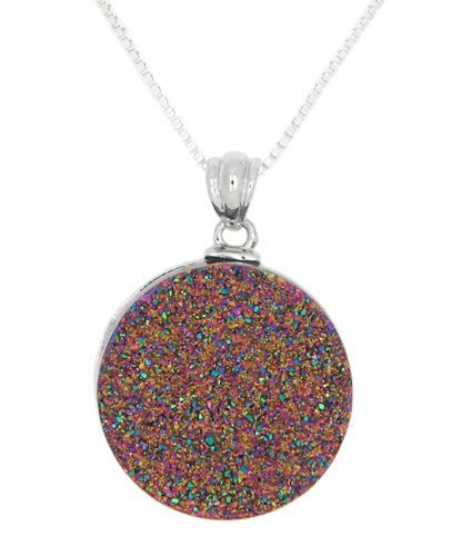 Sterling Silver Genuine Moody Pink Drusy Pendant Necklace front-587144