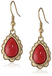 "NINE WEST VINTAGE AMERICA ""Native Red Flora"" Worn-Gold and Red-Tone Drop Earrings"