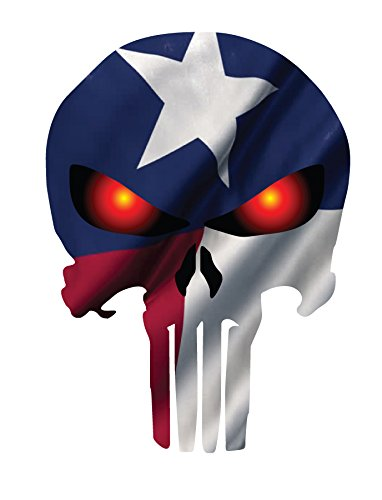 PUNISHER SKULL WITH TEXAS FLAG AND GLOWING RED EYES (Angel Blade Punish compare prices)