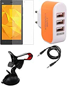 NIROSHA Tempered Glass Screen Guard Mobile Holder Charger for Xiaomi Mi3 - Combo