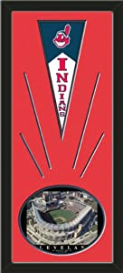 Cleveland Indians Wool Felt Mini Pennant & Jacoby Field Photo - Framed With Team... by Art and More, Davenport, IA