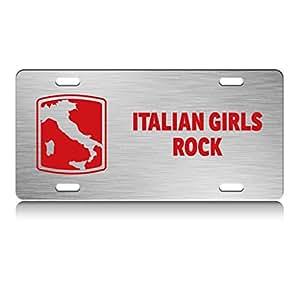 Amazon.com: ShirtMania ITALIAN GIRLS ROCK Italy Map Metal License