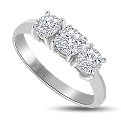 0.60 carat 3 Diamond Trilogy Promise Ring for Women. G/SI1 Round Brilliant Diamond in 18ct White Gold