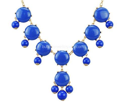 Bubble Bib Necklace, Blue Bubble Necklace, Bubble Blue Necklace(Fn0518-Blue)