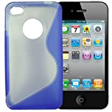 Apple iPhone 4 4G Dark Blue/Clear Wave Hybrid Gel/Crystal Slim Fit Protective Case (Tough Silicone/Hard Plastic Armour) Back Cover Skin Sleeve with anti-slip sides for improved grip