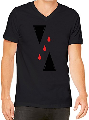 Abstract Crows And Blood Drops T-Shirt V-Collo Donne XX-Large