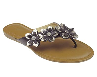 Amazon.com: Capelli New York Faux leather Ladies Flip Flop With Flower