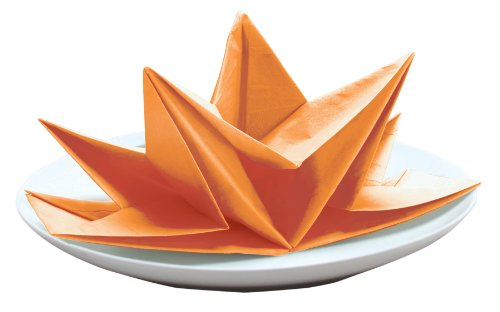 Party Partners Design Fancy Pre-Folded Paper Party Napkins, Orange, 12 Count