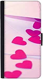 Snoogg Red Drop Heart Graphic Snap On Hard Back Leather + Pc Flip Cover Htc M7