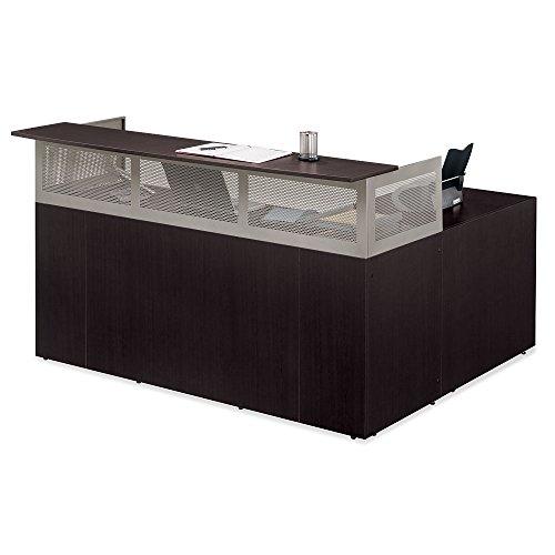 At Work Left Return Reception L-Desk with Pedestal Espresso Laminate/Brushed Nickel Frame (Laminate Reception Desk Espresso compare prices)