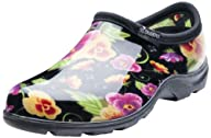 Sloggers 5114BP10 Women's Rain and Garden Shoes with Comfort Insole, Size 10, Pansy Print Black