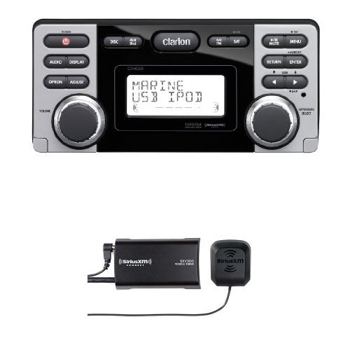 Clarion CMD8 1.8-Inch Marine CD-USB-MP3 Receiver with SiriusXM SXV300v1 Connect Vehicle Tuner Bundle