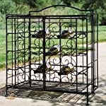 PTC Home and Garden 15-Bottle Folding Wine Cage, Black
