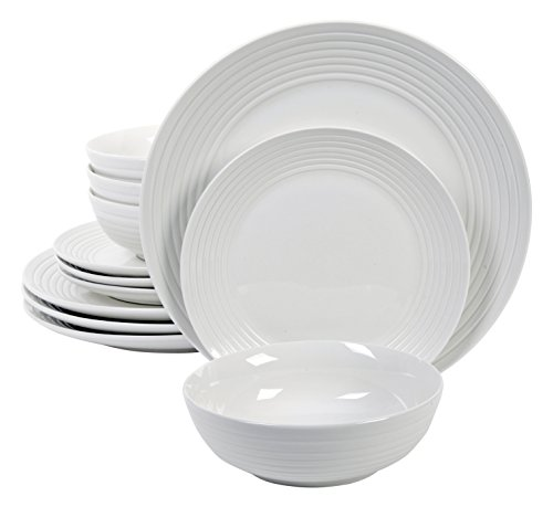 Gibson Home 12 Piece Hazelton Dinnerware Set, White (Porcelain Service For 12 compare prices)