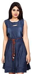 Carrel Brand Imported Denim Fabric Stylish Sleeveless A-line Short Dress/Long Top with Belt Dark Blue Colour Women L Size.