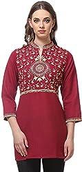 Vedanta Women's Regular Fit Cotton Kurta (KICMEMB713PURPLE_S, PURPLE, Small)