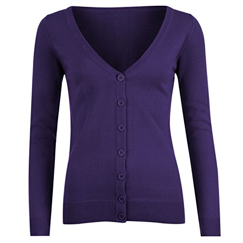 Miss Fiori Womens Essential Cardigan Ladies Purple 14 (L)