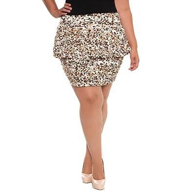 Amazon.com: Torrid Plus Size Cheetah Peplum Mini Skirt