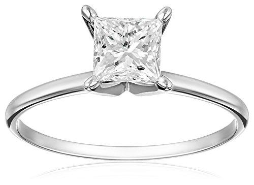 Sale IGI Certified 14k White Gold Princess-Cut Diamond Solitaire Engagement Ring (1 cttw, I-J Color, I1-I2 Clarity), Size 7