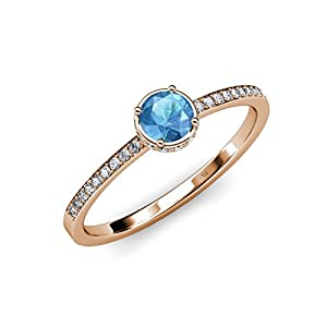Blue Topaz and Diamond (VS2-SI1, F-G) Halo Engagement Ring 0.95 ct tw in 18K Rose Gold.size 5.5