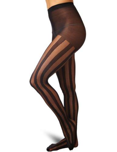 Pamela Mann-Solid Sheer Stripe-Basso e collant-Donna nero Taglia unica