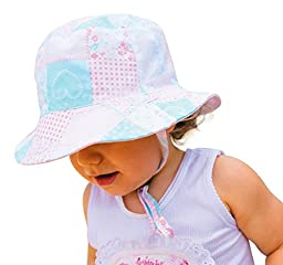 Esther Girls Sun Hat  Bucket Beach Hat-Reversible Cotton UPF50,0-12 Months,Pink