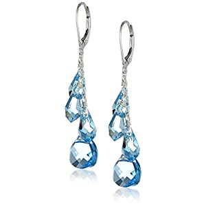 Sterling Silver Swarovski Elements Aquamarine Colored Multi-Teardrop and Briolette Earrings