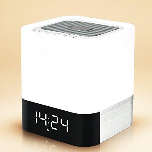 Bluetooth-Lautsprecher-Earto-Wireless-Speaker-mit-3-Licht-Modus-Berhrungsempfindliche-SteuerungTF-KarteUSBFreisprecheinrichtungWecker-geeignet-fr-Familie-Bro-Unterwegs-AutoWeiss-und-Schwarz