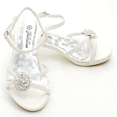Fabulous Toddler Girl Pearl White Jeweled Heel Shoe 7