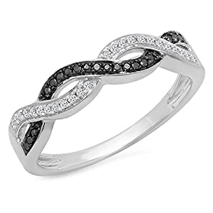 0.15 Carat (Ctw) Sterling Silver Black & White Diamond Ladies Bridal Wedding Stackable Band (Size 7)