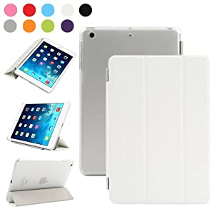 Besdata Magnetic Smart Cover Stand + Hard Back Case + Free Stylus Touch Pen + Free Screen Protector + Free Cleaning Cloth For Apple iPad mini 2 / mini 3 with retina display - Supreme Quality - Protects the Device - UK Stock - White - PT3101