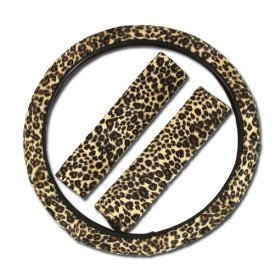Premium Cheetah Steering Wheel Cover with Shoulder Pad by RoyalCraft