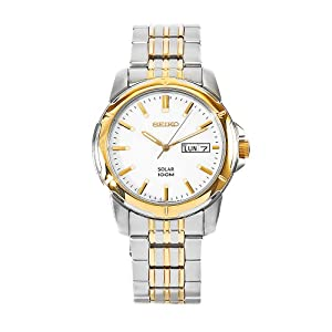Click to buy Seiko Watches for Men: SNE094 Solar Stainless Steel White Dial Watch from Amazon!