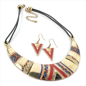 Gold Colour Multi Enamel Cord Dazzling Necklace And Earring Set Brand New
