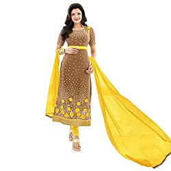 Ustaad Brown Color Faux Georgette Semi Stitched Straight Salwar Kameez