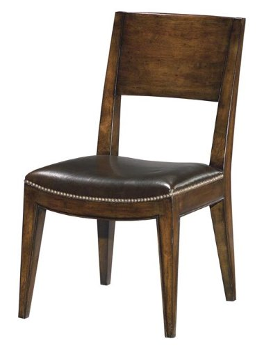 6 new dining chairs wood brown topgrain leather upholstery for Wood dining chairs with leather seats