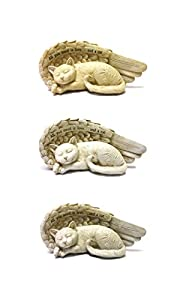 Sleeping Cat Memorial Statue with Wings