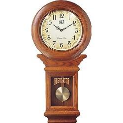 River City Clocks Chiming American Regulator Wall Clock with Swinging Pendulum and Oak Finish - 27 Inches Tall - Model # 3416O