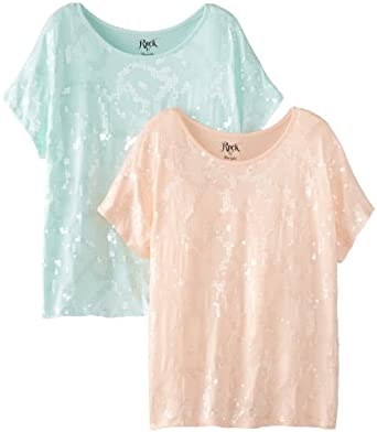 Wrangler Women's Rock 47 Two-Pack Short Sleeve All Over Sequin Shirts, 2 pk.  Peach/Mint, XX-Large