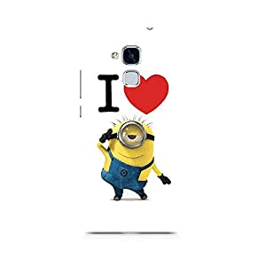 Motivatebox- I Love Minions Premium Printed Case For Huawei Honor 5c -Matte Polycarbonate 3D Hard case Mobile Cell Phone Protective BACK CASE COVER. Hard Shockproof Scratch-