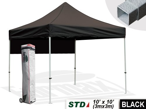 New Std 10X10 Feet Ez Pop Up Instant Outdoor Canopy Party Tent Gazebo Commercial Level W/Roller Bag+Bonus Awning! (Black) front-943635